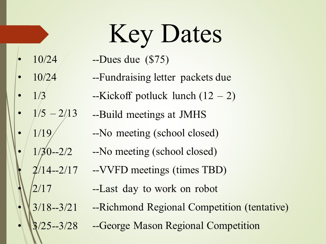 Key Dates 10/24 1/3 1/5 – 2/13 1/19 1/30--2/2 2/14--2/17 2/17 3/18--3/21 3/25--3/28 --Dues due ($75) --Fundraising letter packets due --Kickoff potluc