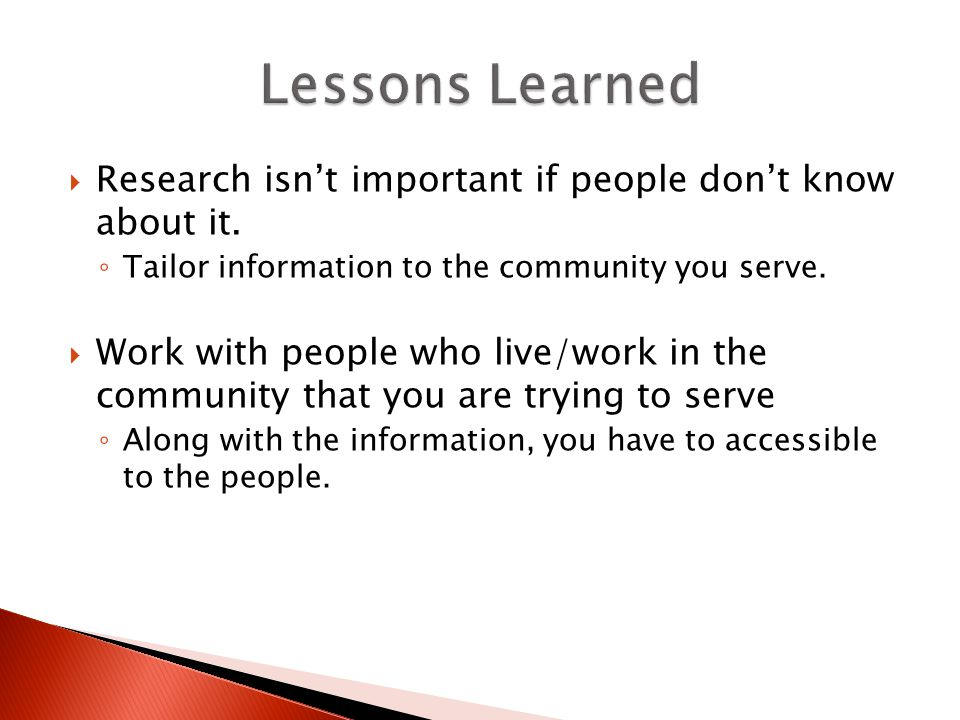  Research isn't important if people don't know about it.
