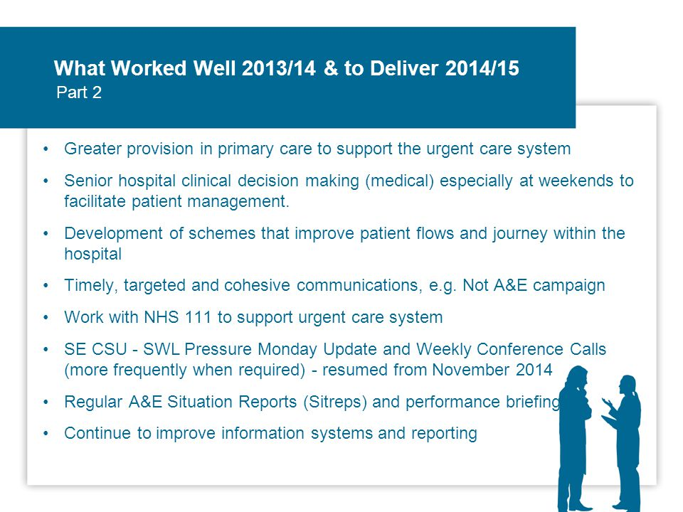 What Worked Well 2013/14 & to Deliver 2014/15 Greater provision in primary care to support the urgent care system Senior hospital clinical decision making (medical) especially at weekends to facilitate patient management.