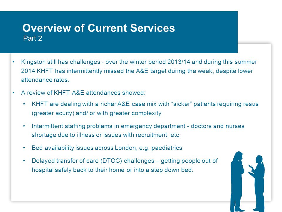 Overview of Current Services GP surgeries with extended hours and weekend/ bank holiday working over winter 2014/15 via cluster model of 4 GP Practices seeing patients from all Kingston GP Practices via appointment or walk in system GP led Health Care Centre in Chessington NHS111 – difficult start, now achieving call answering target, improving on clinical call transfers – navigating people to the right urgent care service Care UK Out of Hours service (OoH) Minor Injuries Unit – Teddington/ Roehampton Your Healthcare CIC services - Rapid Response Team, Nursing Home services, etc.