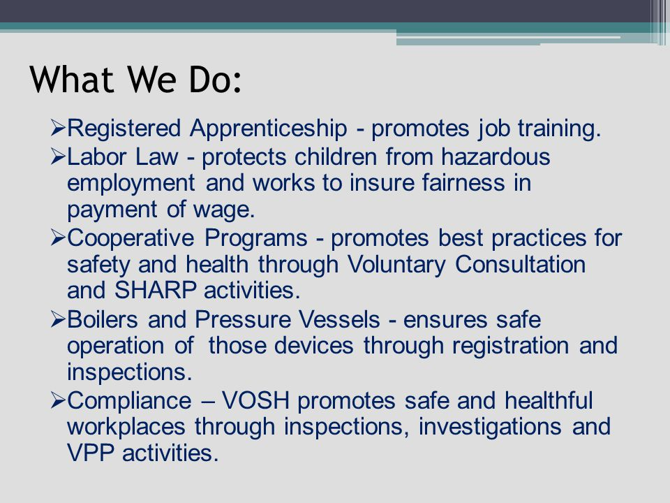 What We Do:  Registered Apprenticeship - promotes job training.