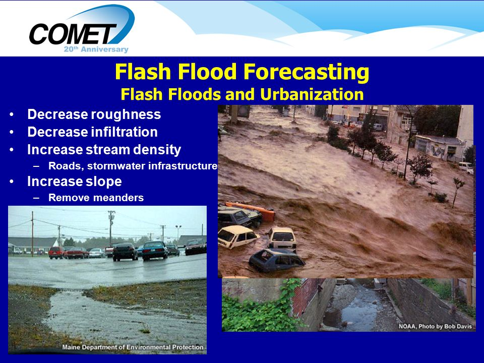 Decrease roughness Decrease infiltration Increase stream density –Roads, stormwater infrastructure Increase slope –Remove meanders Flash Flood Forecasting Flash Floods and Urbanization