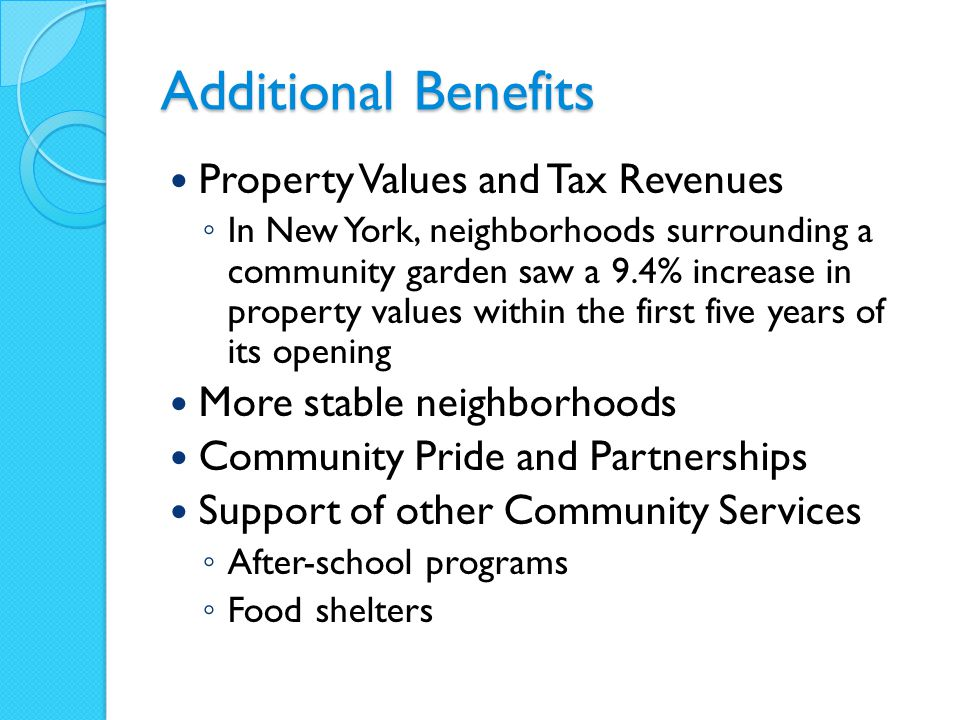 Additional Benefits Property Values and Tax Revenues ◦ In New York, neighborhoods surrounding a community garden saw a 9.4% increase in property values within the first five years of its opening More stable neighborhoods Community Pride and Partnerships Support of other Community Services ◦ After-school programs ◦ Food shelters