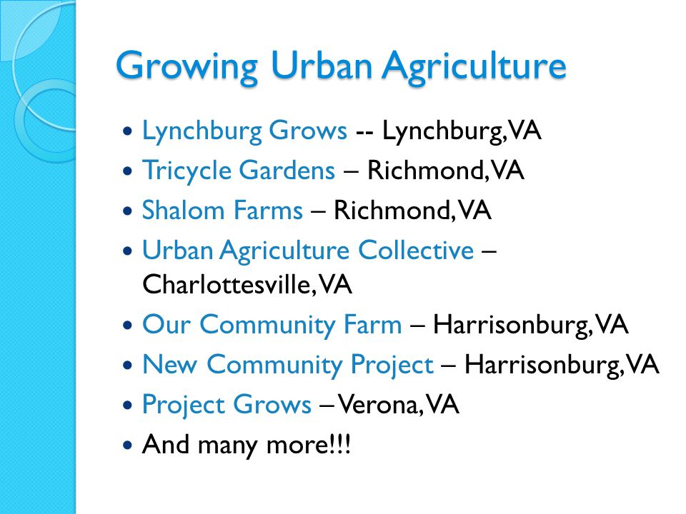 Growing Urban Agriculture Lynchburg Grows -- Lynchburg, VA Tricycle Gardens – Richmond, VA Shalom Farms – Richmond, VA Urban Agriculture Collective – Charlottesville, VA Our Community Farm – Harrisonburg, VA New Community Project – Harrisonburg, VA Project Grows – Verona, VA And many more!!!