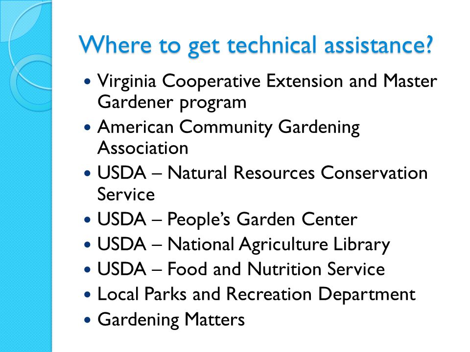 Where to get technical assistance.