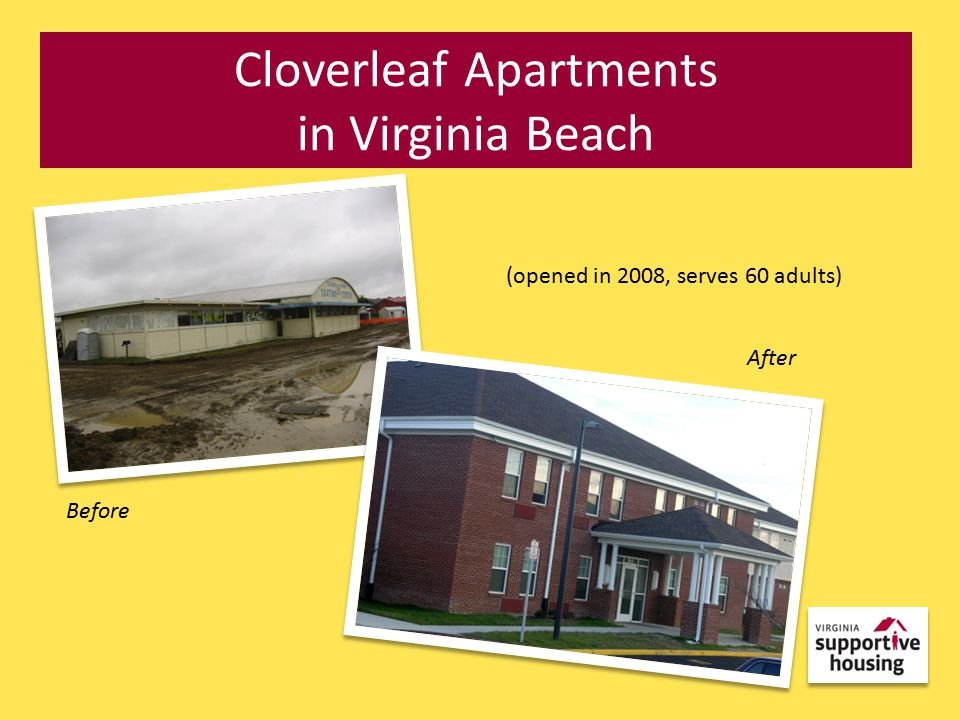 Cloverleaf Apartments in Virginia Beach (opened in 2008, serves 60 adults) After Before