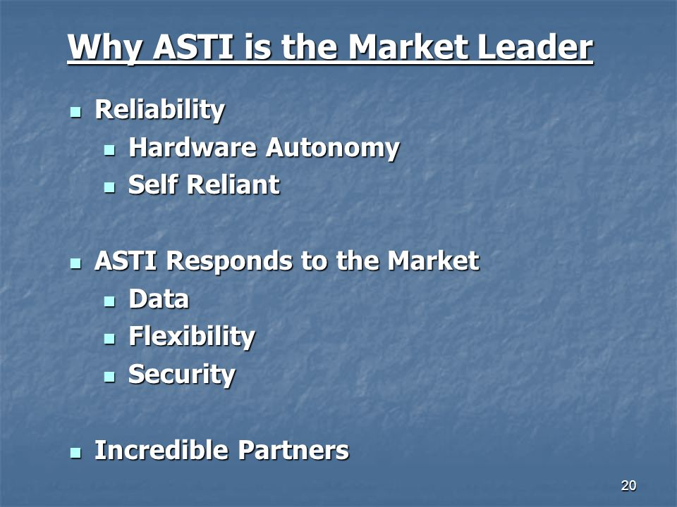 20 Why ASTI is the Market Leader Reliability Reliability Hardware Autonomy Hardware Autonomy Self Reliant Self Reliant ASTI Responds to the Market AST