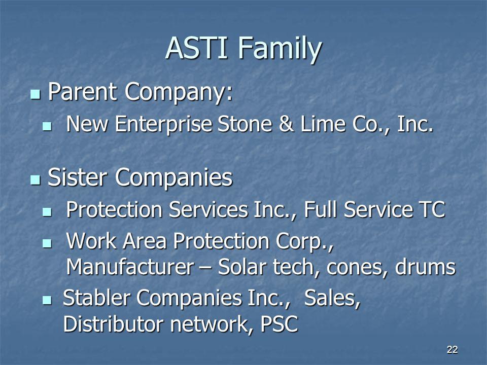 ASTI Family Parent Company: Parent Company: New Enterprise Stone & Lime Co., Inc. New Enterprise Stone & Lime Co., Inc. Sister Companies Sister Compan