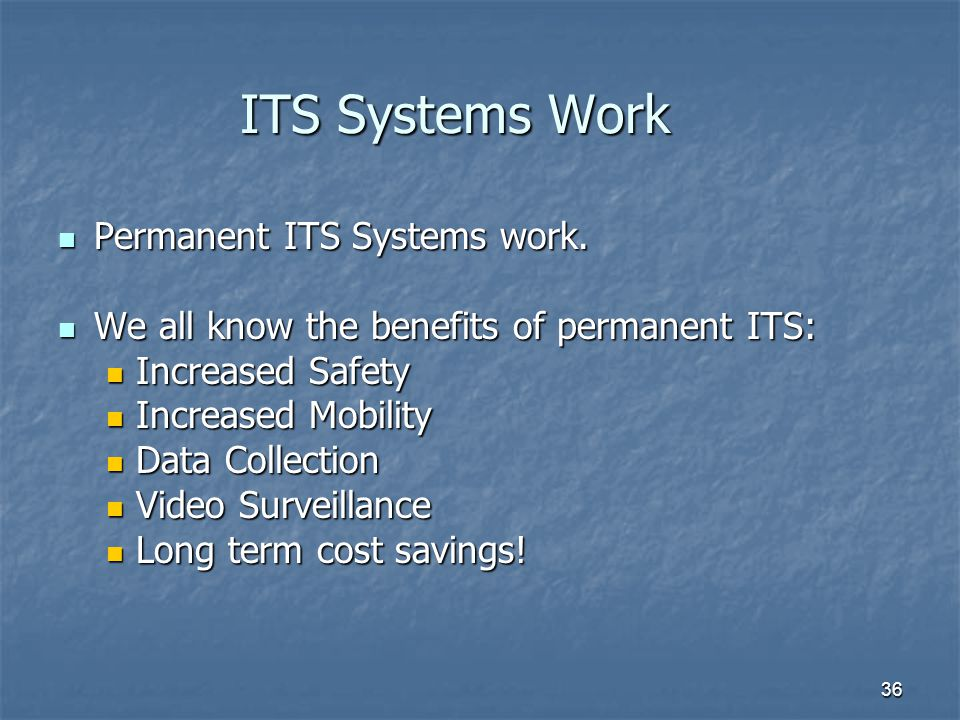 36 ITS Systems Work Permanent ITS Systems work. Permanent ITS Systems work. We all know the benefits of permanent ITS: We all know the benefits of per