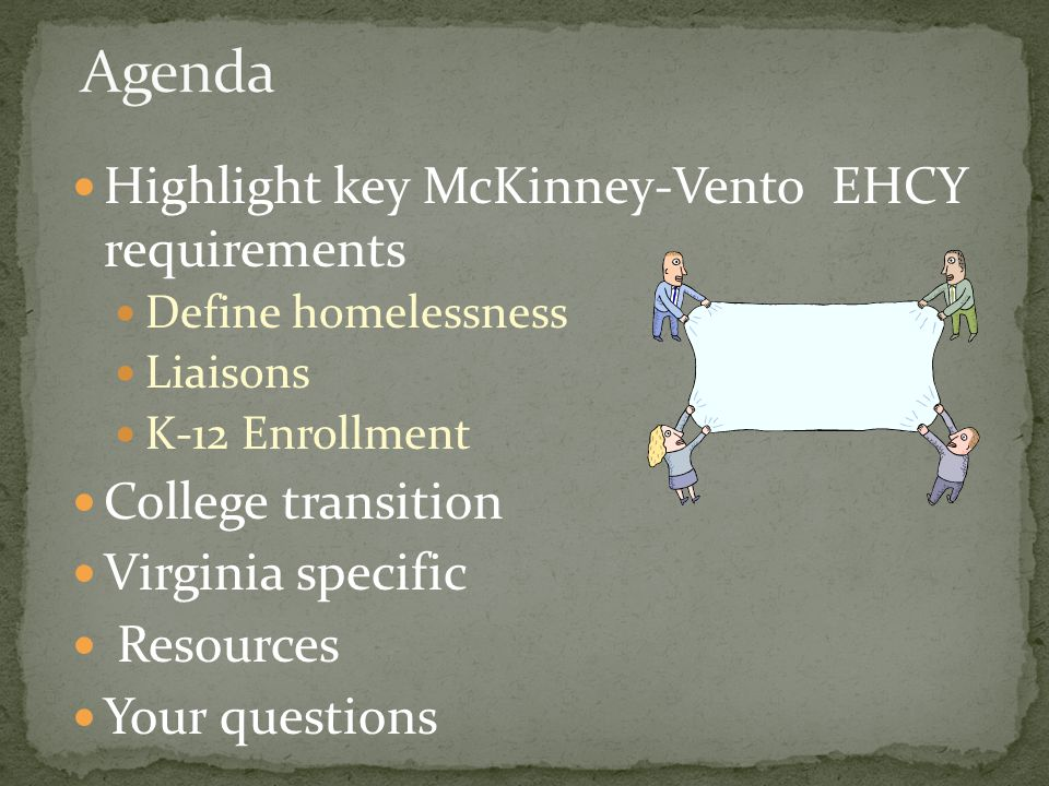 Highlight key McKinney-Vento EHCY requirements Define homelessness Liaisons K-12 Enrollment College transition Virginia specific Resources Your questions