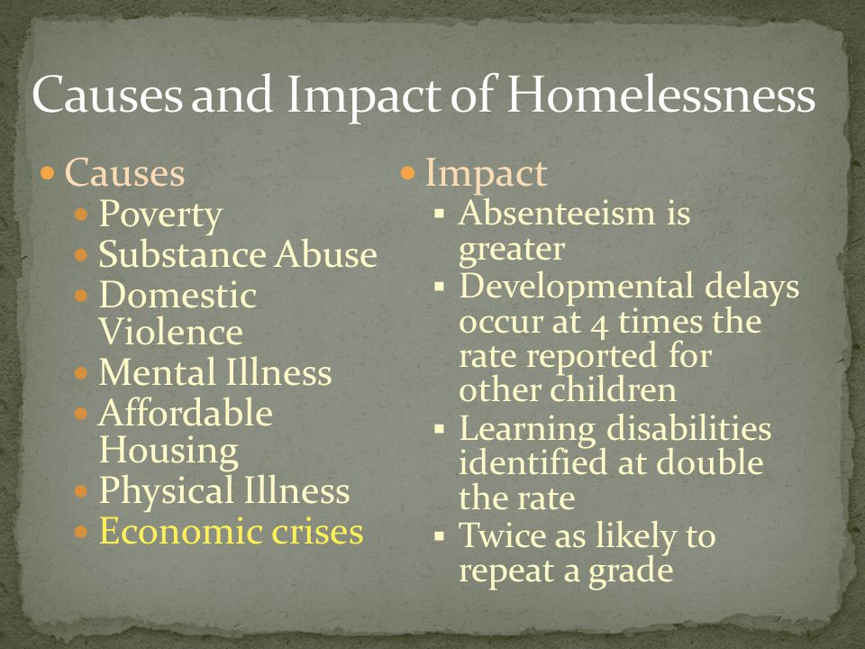 Causes Poverty Substance Abuse Domestic Violence Mental Illness Affordable Housing Physical Illness Economic crises Impact  Absenteeism is greater  Developmental delays occur at 4 times the rate reported for other children  Learning disabilities identified at double the rate  Twice as likely to repeat a grade