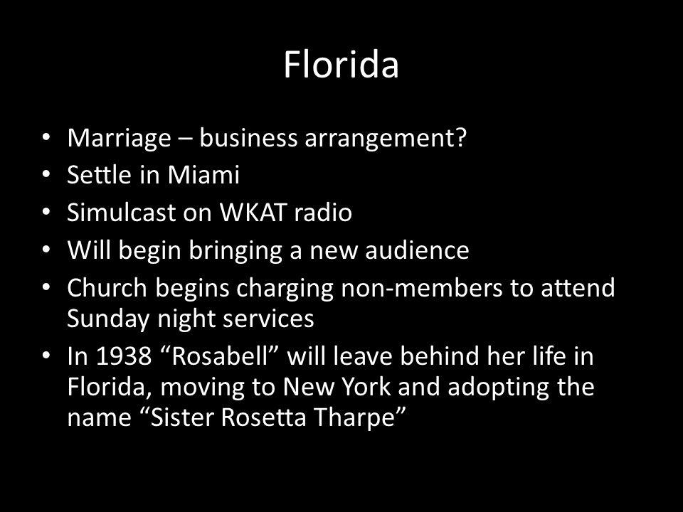 Florida Marriage – business arrangement.