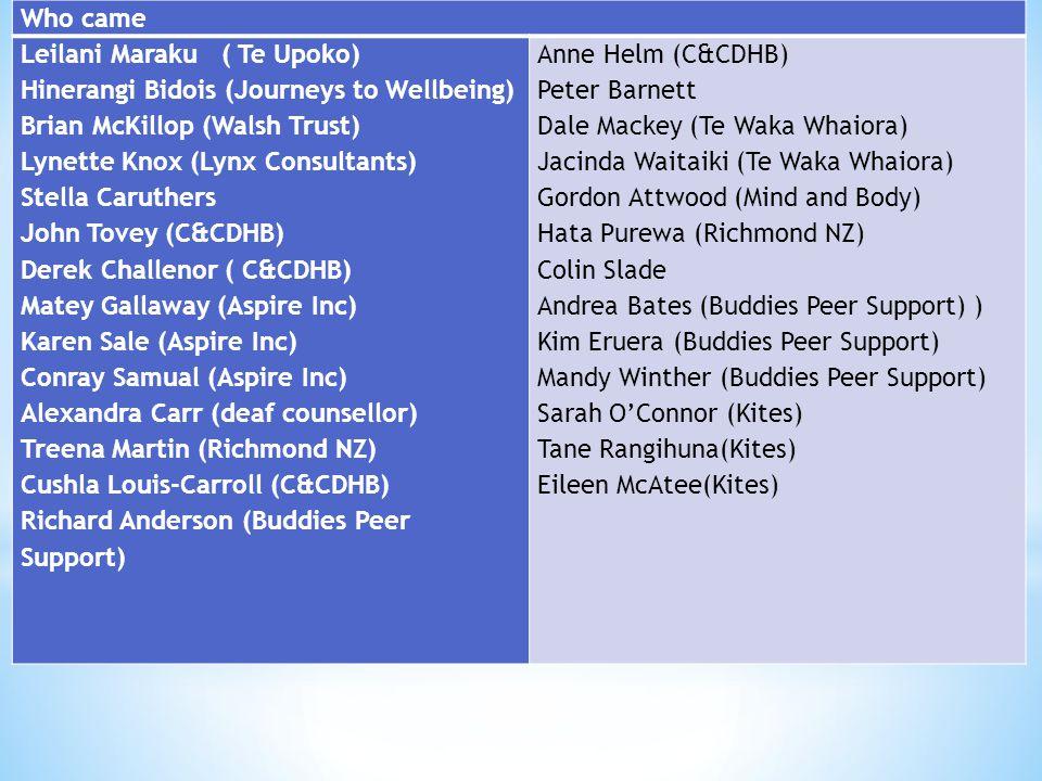 Who came Leilani Maraku ( Te Upoko) Hinerangi Bidois (Journeys to Wellbeing) Brian McKillop (Walsh Trust) Lynette Knox (Lynx Consultants) Stella Caruthers John Tovey (C&CDHB) Derek Challenor ( C&CDHB) Matey Gallaway (Aspire Inc) Karen Sale (Aspire Inc) Conray Samual (Aspire Inc) Alexandra Carr (deaf counsellor) Treena Martin (Richmond NZ) Cushla Louis-Carroll (C&CDHB) Richard Anderson (Buddies Peer Support) Anne Helm (C&CDHB) Peter Barnett Dale Mackey (Te Waka Whaiora) Jacinda Waitaiki (Te Waka Whaiora) Gordon Attwood (Mind and Body) Hata Purewa (Richmond NZ) Colin Slade Andrea Bates (Buddies Peer Support) ) Kim Eruera (Buddies Peer Support) Mandy Winther (Buddies Peer Support) Sarah O'Connor (Kites) Tane Rangihuna(Kites) Eileen McAtee(Kites)