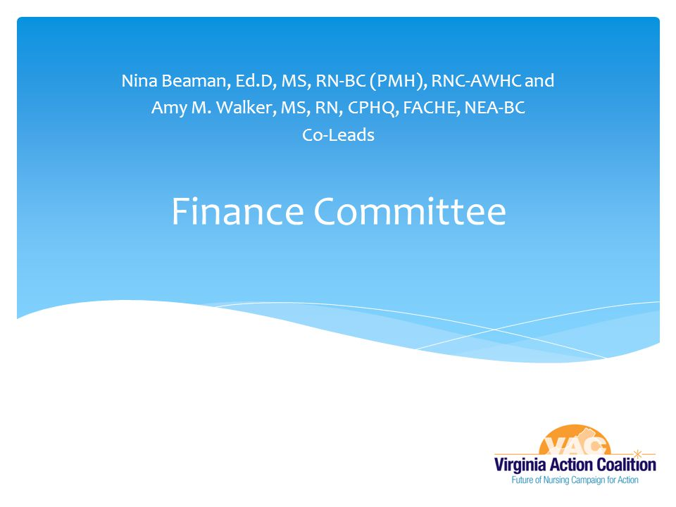 Finance Committee Nina Beaman, Ed.D, MS, RN-BC (PMH), RNC-AWHC and Amy M. Walker, MS, RN, CPHQ, FACHE, NEA-BC Co-Leads
