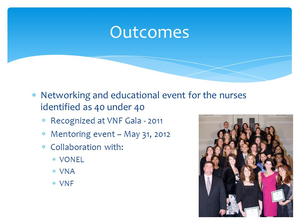  Networking and educational event for the nurses identified as 40 under 40  Recognized at VNF Gala - 2011  Mentoring event – May 31, 2012  Collabo
