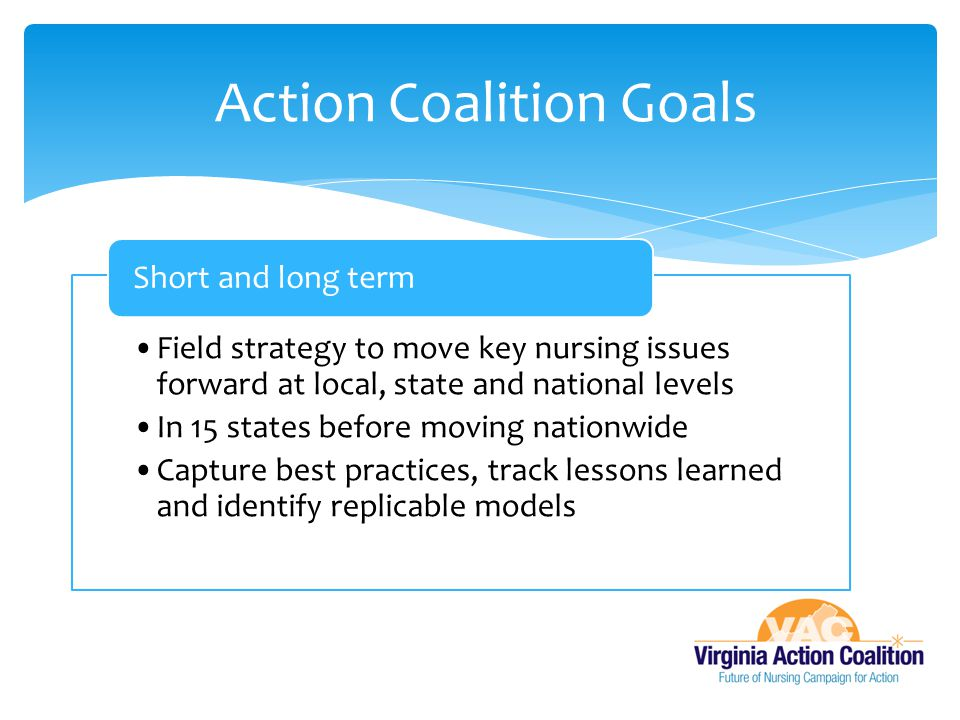 Field strategy to move key nursing issues forward at local, state and national levels In 15 states before moving nationwide Capture best practices, tr