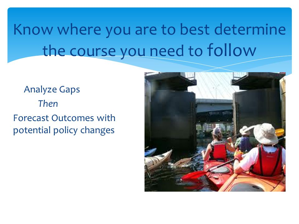 Know where you are to best determine the course you need to follow Analyze Gaps Then Forecast Outcomes with potential policy changes