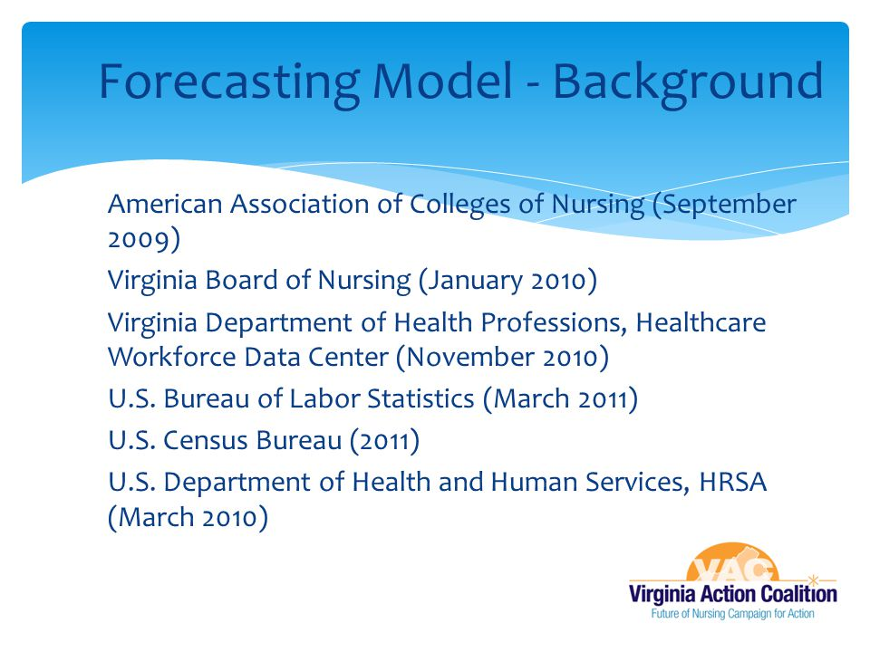  American Association of Colleges of Nursing (September 2009)  Virginia Board of Nursing (January 2010)  Virginia Department of Health Professions,