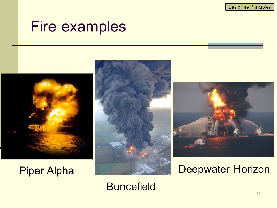 Fire examples 11 Piper Alpha Buncefield Deepwater Horizon Basic Fire Principles