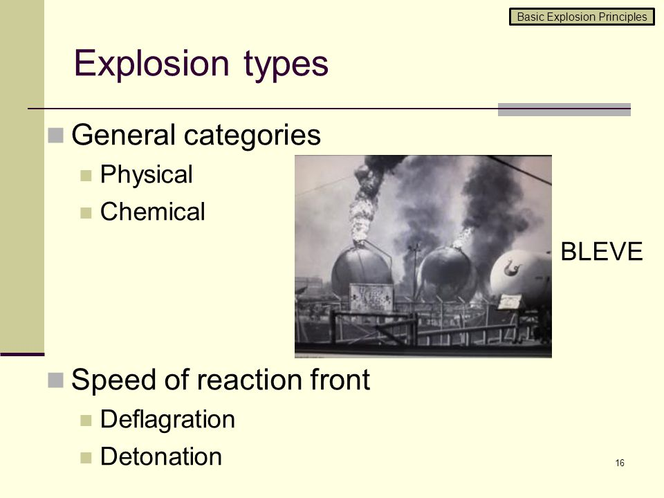 Explosion types General categories Physical Chemical Speed of reaction front Deflagration Detonation 16 BLEVE Basic Explosion Principles