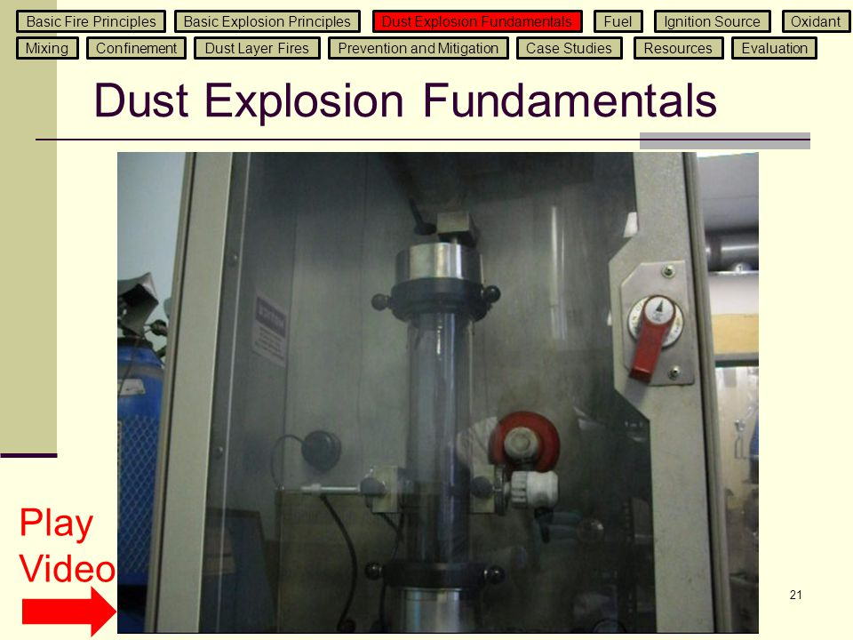 21 Dust Explosion Fundamentals Play Video Basic Fire PrinciplesBasic Explosion Principles Dust Explosion Fundamentals Ignition SourceFuelOxidant Mixin