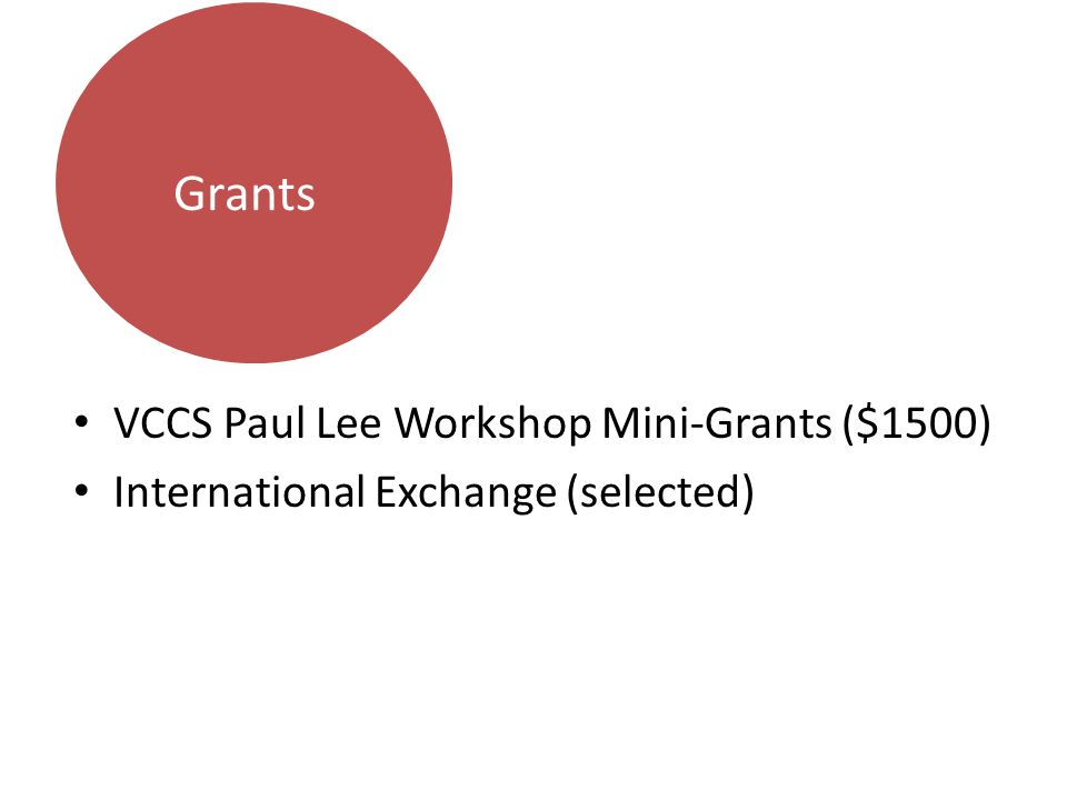 VCCS Paul Lee Workshop Mini-Grants ($1500) International Exchange (selected) Grants