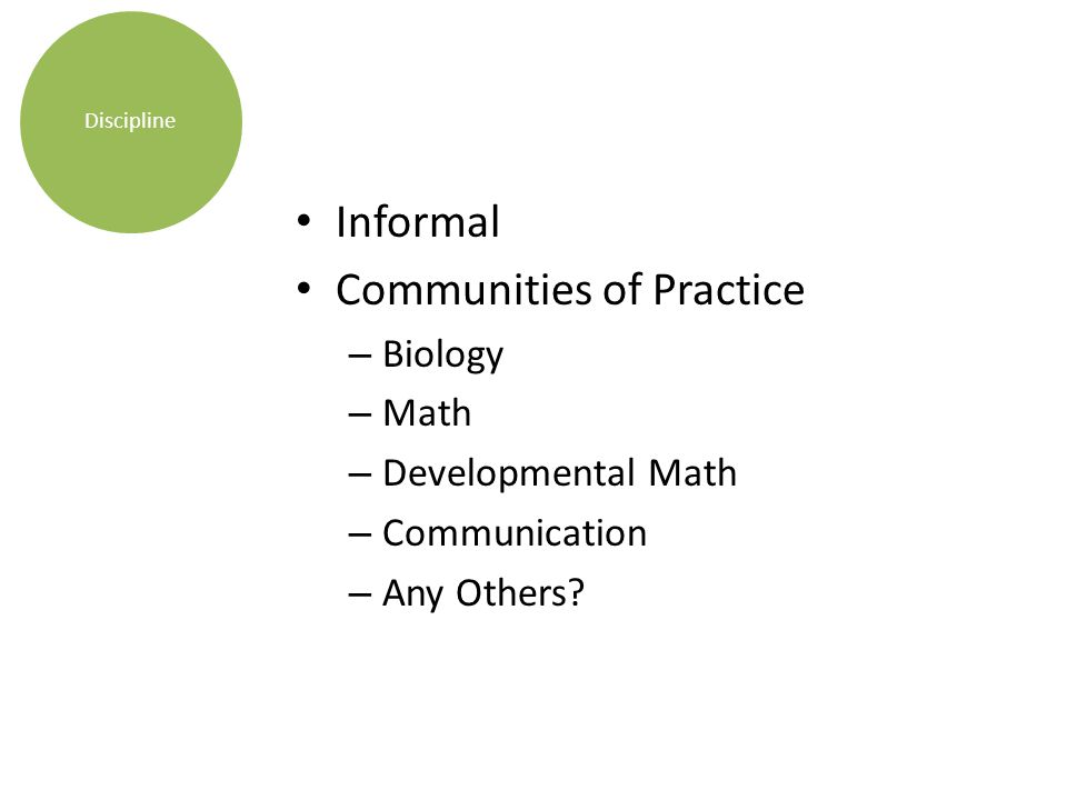 Informal Communities of Practice – Biology – Math – Developmental Math – Communication – Any Others.