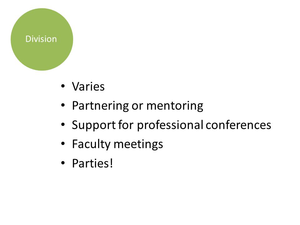 Varies Partnering or mentoring Support for professional conferences Faculty meetings Parties.