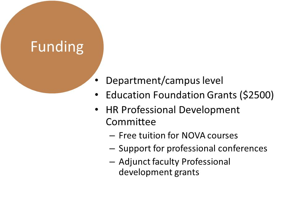 Department/campus level Education Foundation Grants ($2500) HR Professional Development Committee – Free tuition for NOVA courses – Support for professional conferences – Adjunct faculty Professional development grants Funding