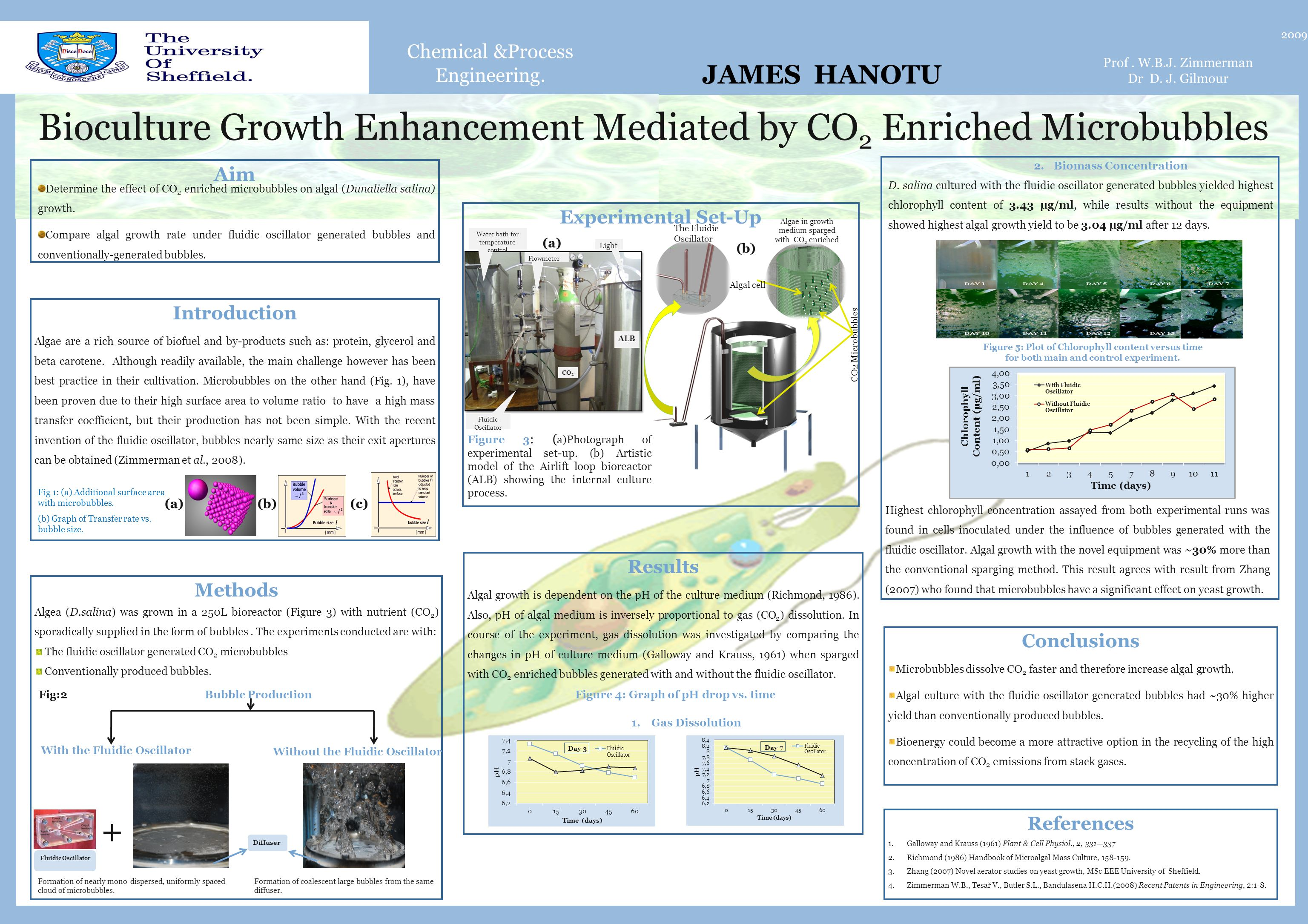 Chemical &Process Engineering. Bioculture Growth Enhancement Mediated by CO 2 Enriched Microbubbles 2009 Prof. W.B.J. Zimmerman Dr D. J. Gilmour Intro