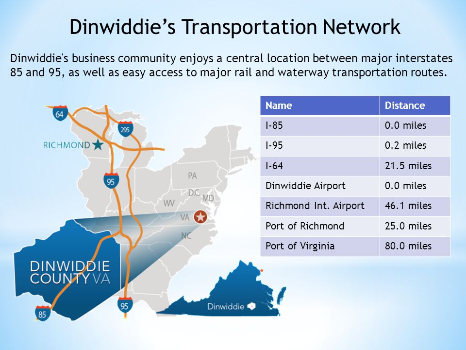 Dinwiddie s business community enjoys a central location between major interstates 85 and 95, as well as easy access to major rail and waterway transportation routes.
