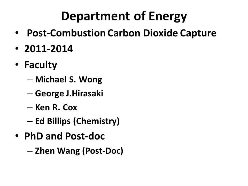 Department of Energy Post-Combustion Carbon Dioxide Capture 2011-2014 Faculty – Michael S. Wong – George J.Hirasaki – Ken R. Cox – Ed Billips (Chemist