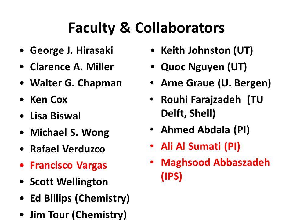Faculty & Collaborators George J. Hirasaki Clarence A. Miller Walter G. Chapman Ken Cox Lisa Biswal Michael S. Wong Rafael Verduzco Francisco Vargas S