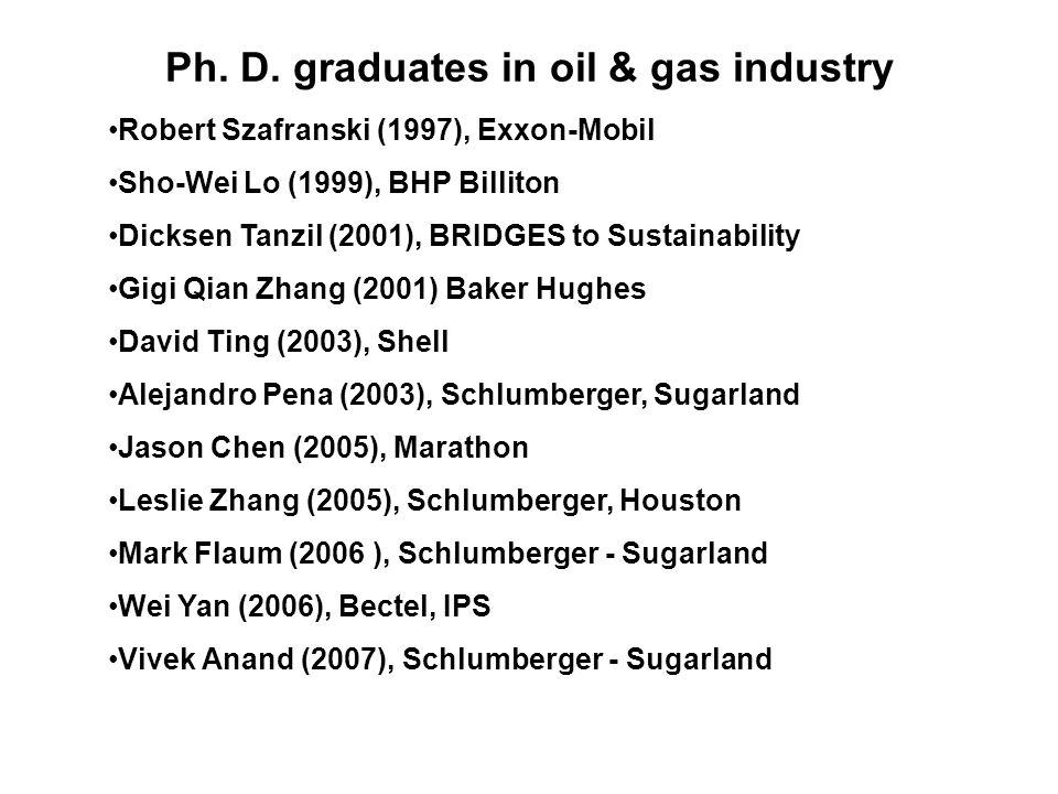 Ph. D. graduates in oil & gas industry Robert Szafranski (1997), Exxon-Mobil Sho-Wei Lo (1999), BHP Billiton Dicksen Tanzil (2001), BRIDGES to Sustain