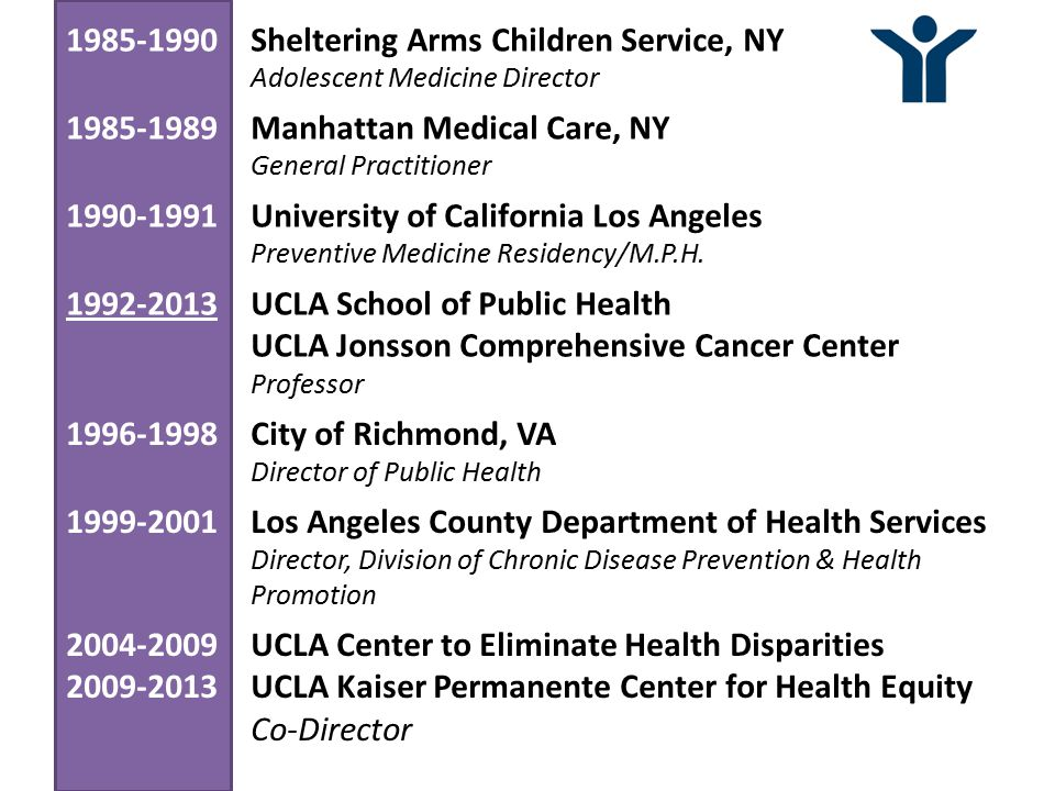 1985-1990Sheltering Arms Children Service, NY Adolescent Medicine Director 1985-1989Manhattan Medical Care, NY General Practitioner 1990-1991University of California Los Angeles Preventive Medicine Residency/M.P.H.