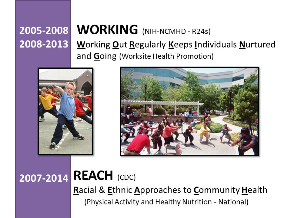 REACH (CDC) Racial & Ethnic Approaches to Community Health (Physical Activity and Healthy Nutrition - National) WORKING (NIH-NCMHD - R24s) Working Out