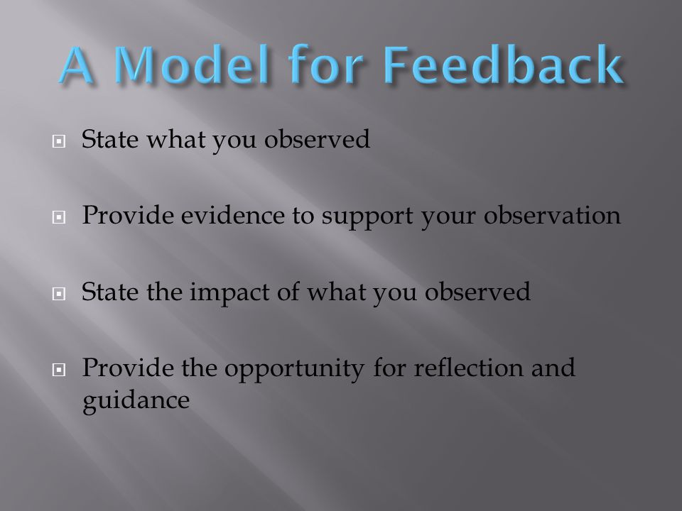 State what you observed  Provide evidence to support your observation  State the impact of what you observed  Provide the opportunity for reflection and guidance