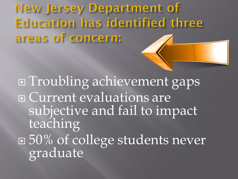  Troubling achievement gaps  Current evaluations are subjective and fail to impact teaching  50% of college students never graduate