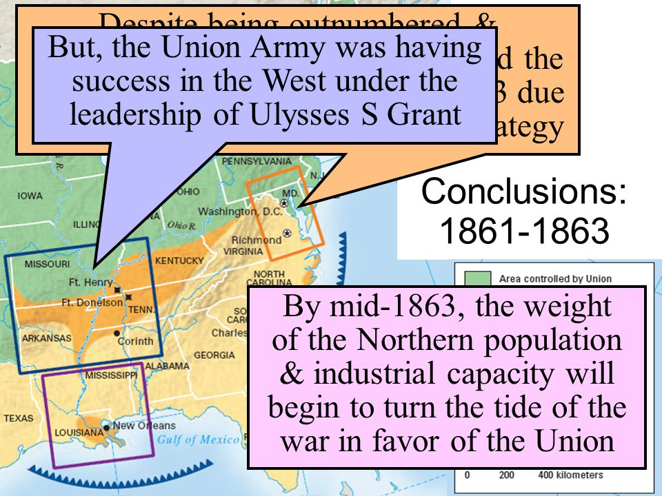 Conclusions: 1861-1863 Despite being outnumbered & under-equipped, the CSA dominated the fighting in the East from 1861-1863 due to better generals &