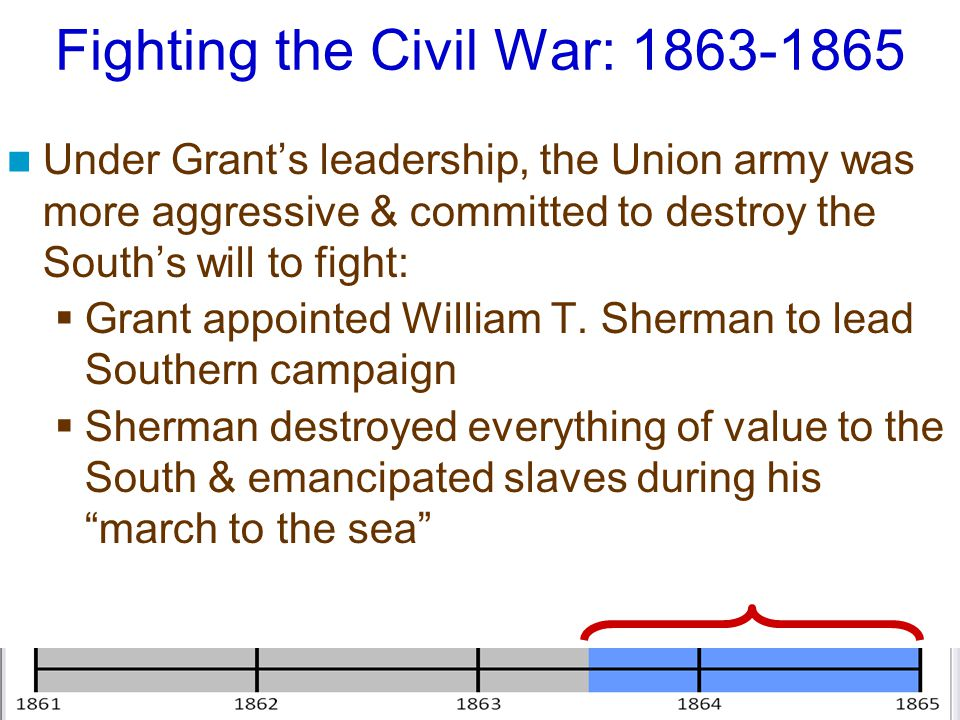 Fighting the Civil War: 1863-1865 Under Grant's leadership, the Union army was more aggressive & committed to destroy the South's will to fight:  Gra