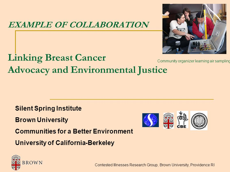 Contested Illnesses Research Group, Brown University, Providence RI EXAMPLE OF COLLABORATION Linking Breast Cancer Advocacy and Environmental Justice