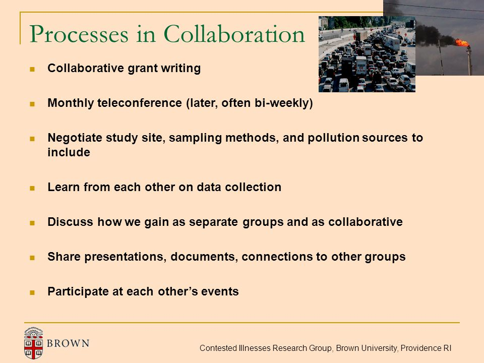 Contested Illnesses Research Group, Brown University, Providence RI Processes in Collaboration Collaborative grant writing Monthly teleconference (lat