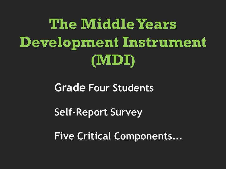 Grade Four Students Grade Four Students Self-Report Survey Self-Report Survey Five Critical Components … Five Critical Components … The Middle Years Development Instrument (MDI)