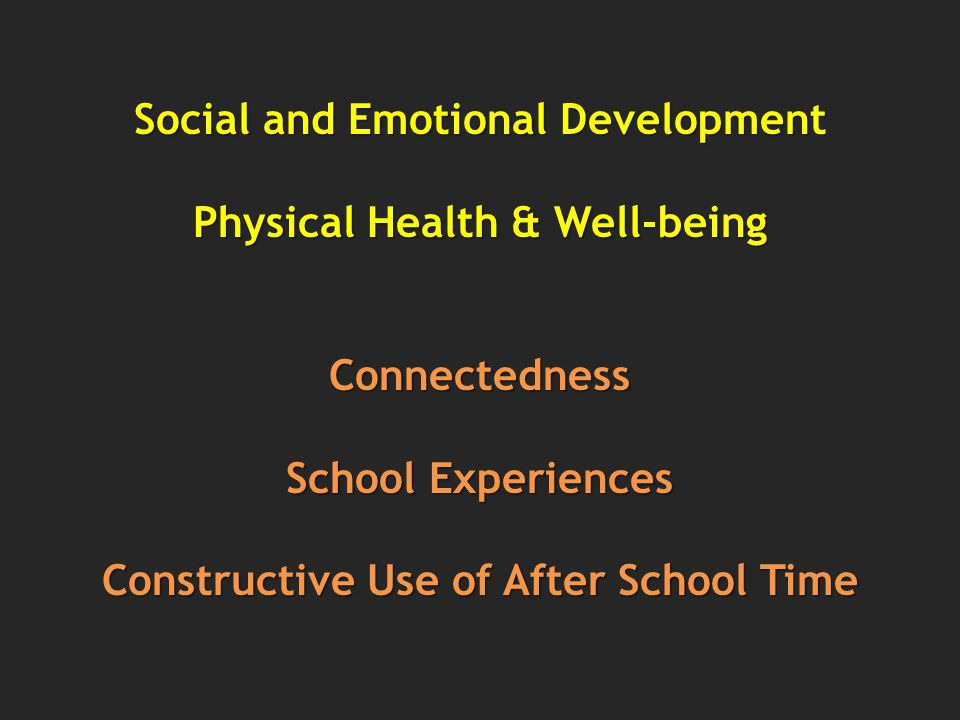 Social and Emotional Development Physical Health & Well-being Connectedness School Experiences Constructive Use of After School Time