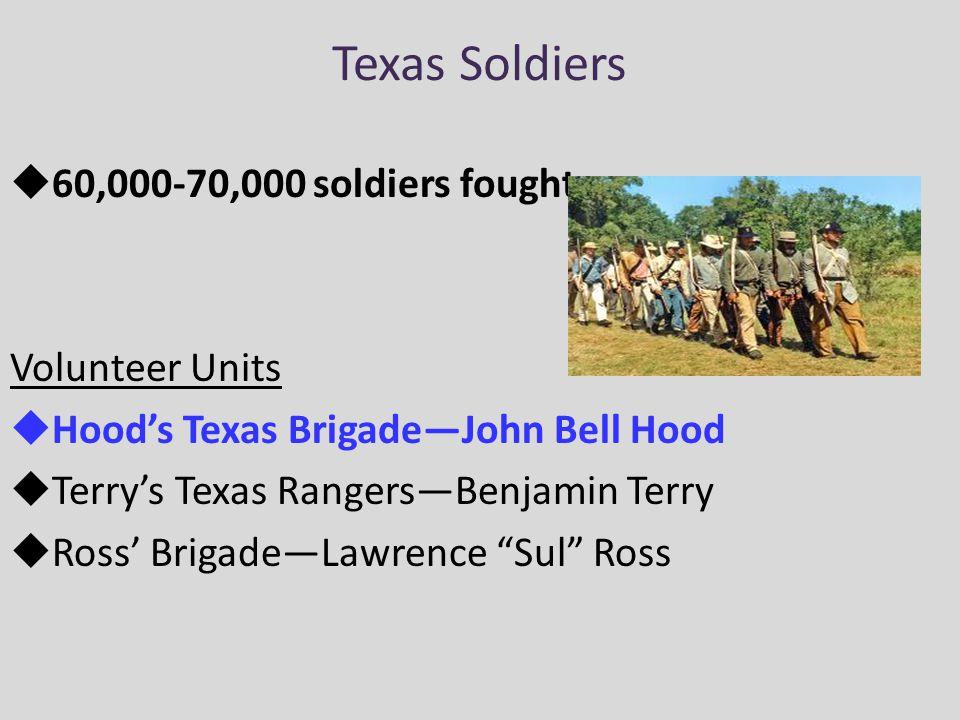 Texas Soldiers  60,000-70,000 soldiers fought Volunteer Units  Hood's Texas Brigade—John Bell Hood  Terry's Texas Rangers—Benjamin Terry  Ross' Brigade—Lawrence Sul Ross