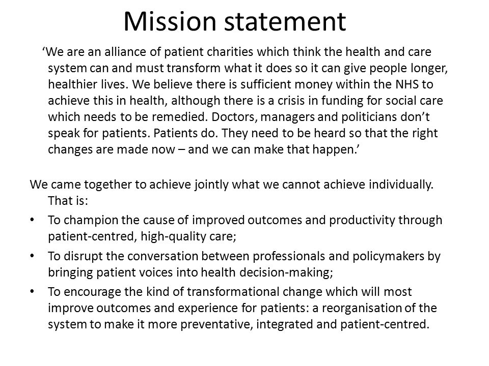 Aims of influencing plan Position the Richmond Group as thought leaders in health policy discussion Articulate a vision for transformational change that places patients at the centre of healthcare Build relationships with key policy stakeholders and shape policy debates Ensure the Richmond Group is seen by Government and policy makers as innovators, experts and solutions-focused Ensure that the patient voice is at the heart of health and social care policy debates