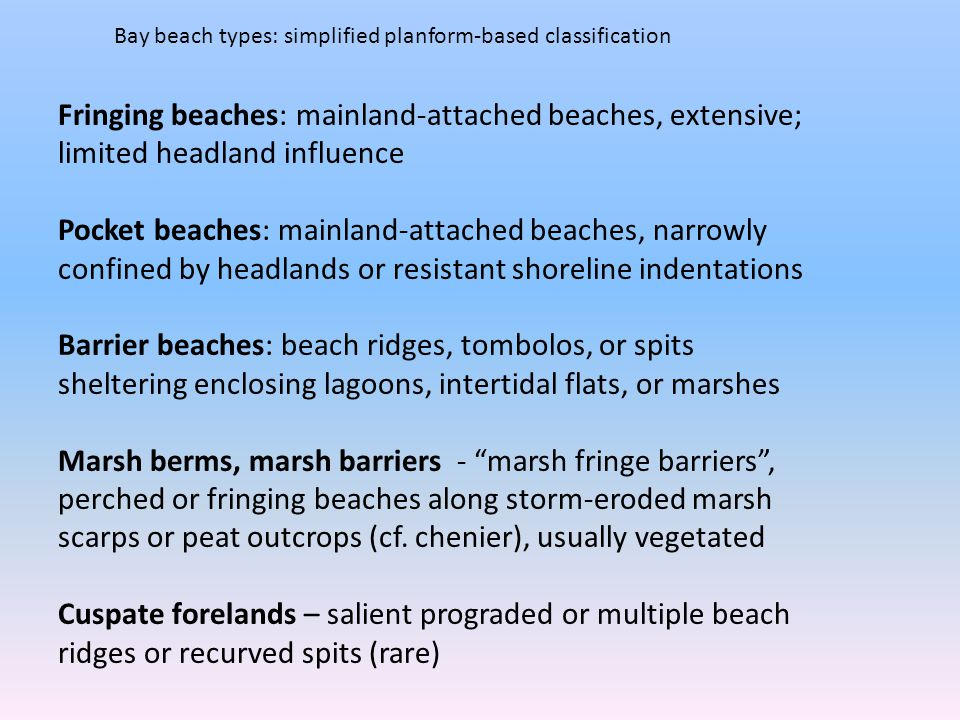 Bay beach types: simplified planform-based classification Fringing beaches: mainland-attached beaches, extensive; limited headland influence Pocket beaches: mainland-attached beaches, narrowly confined by headlands or resistant shoreline indentations Barrier beaches: beach ridges, tombolos, or spits sheltering enclosing lagoons, intertidal flats, or marshes Marsh berms, marsh barriers - marsh fringe barriers , perched or fringing beaches along storm-eroded marsh scarps or peat outcrops (cf.