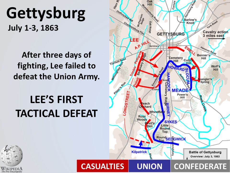 After his victory at Chancellorsville, Lee invaded Pennsylvania in hopes of gaining a decisive victory on Northern soil. Gettysburg July 1-3, 1863
