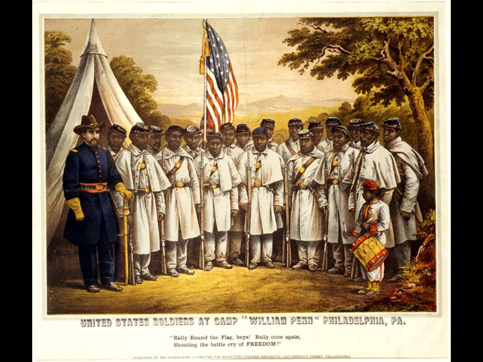 African-Americans About 180,000 African-Americans enlisted in the Union Army in the later years of the war. – 10% of Union Army / 1% of Population ALL