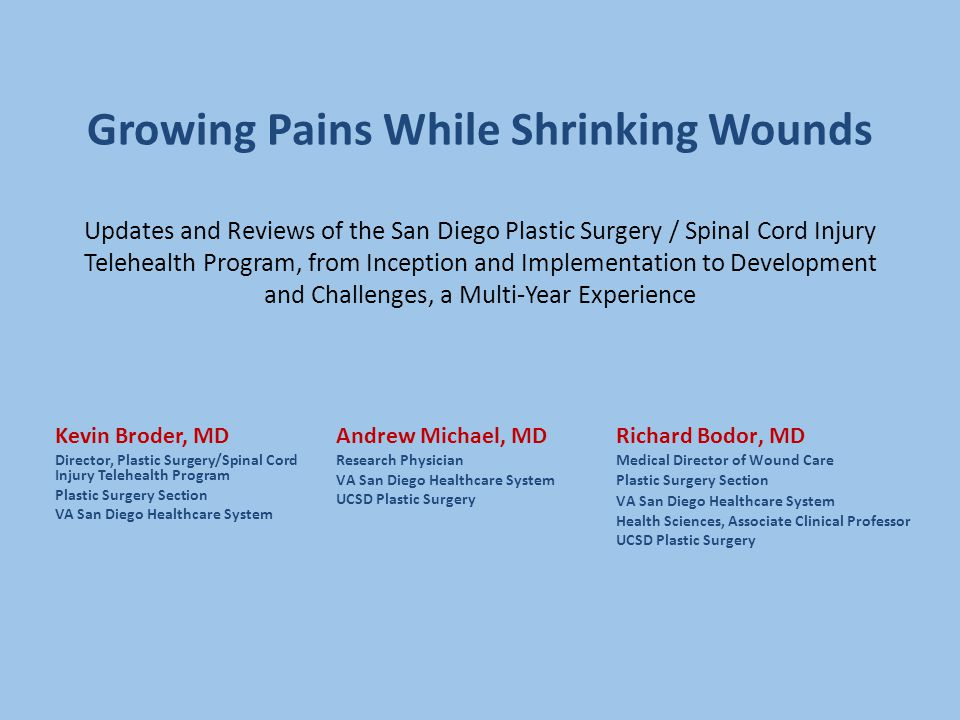 Growing Pains While Shrinking Wounds Updates and Reviews of the San Diego Plastic Surgery / Spinal Cord Injury Telehealth Program, from Inception and